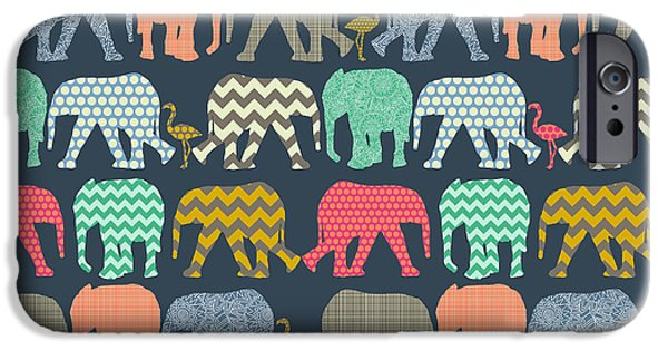 Baby Elephants And Flamingos IPhone 6s Case by Sharon Turner