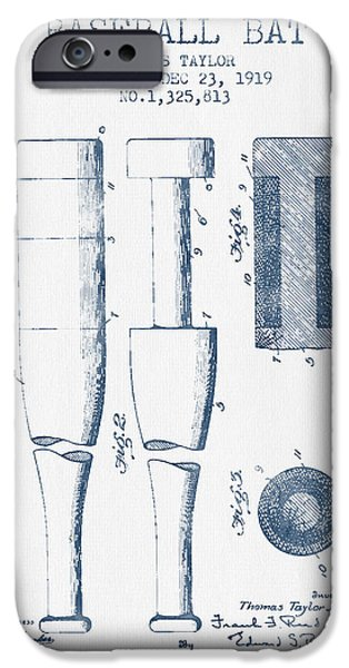 Baseball Bat Patent From 1919 - Blue Ink IPhone 6s Case by Aged Pixel