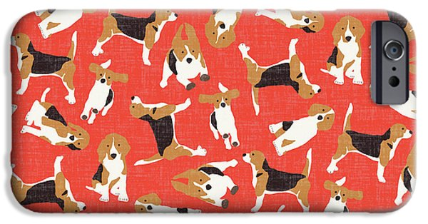 Beagle Scatter Coral Red IPhone 6s Case by Sharon Turner