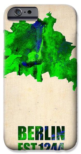 Berlin Watercolor Map IPhone Case by Naxart Studio