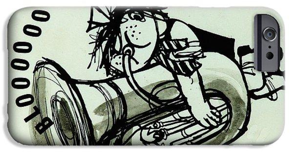 Trombone iPhone 6s Case - Blooooob! Ink On Paper by Brenda Brin Booker