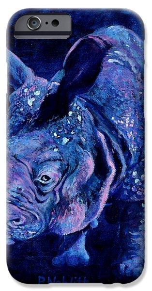 Rhinocerus iPhone 6s Case - Indian Rhino - Blue by Paula Noblitt