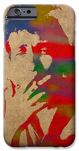 Bob Dylan Watercolor Portrait On Worn Distressed Canvas IPhone 6s Case by Design Turnpike