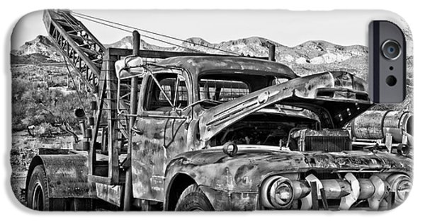 Breakdown Truck In Black And White IPhone Case by Lee Craig