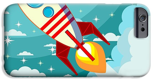 Space iPhone 6s Case - Cartoon Rocket Taking Off Against The by Alekseiveprev