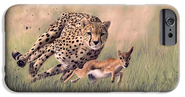 Cheetah iPhone 6s Case - Cheetah And Gazelle Painting by Rachel Stribbling