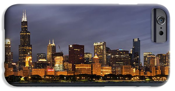 Office Buildings iPhone 6s Case - Chicago Skyline At Night Color Panoramic by Adam Romanowicz
