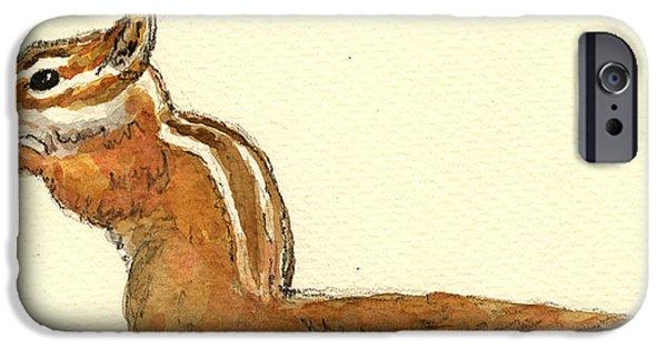 Squirrel iPhone 6s Case - Chipmunk by Juan  Bosco