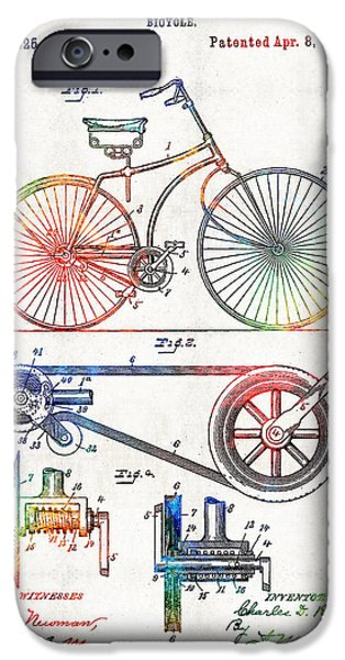 Bicycle iPhone 6s Case - Colorful Bike Art - Vintage Patent - By Sharon Cummings by Sharon Cummings