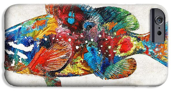 Scuba Diving iPhone 6s Case - Colorful Grouper Art Fish By Sharon Cummings by Sharon Cummings