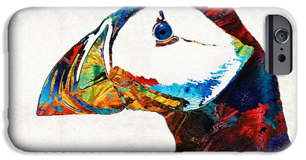 Puffin iPhone 6s Case - Colorful Puffin Art By Sharon Cummings by Sharon Cummings