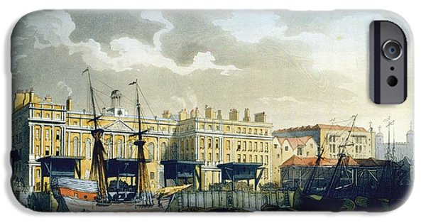 Custom House From The River Thames IPhone 6s Case by T. & Pugin, A.C. Rowlandson