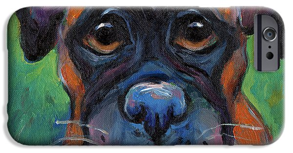 Cute Boxer Puppy Dog With Big Eyes Painting IPhone Case by Svetlana Novikova