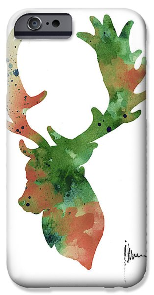 Deer Antlers Silhouette Watercolor Art Print Painting IPhone 6s Case by Joanna Szmerdt