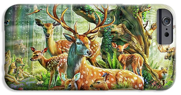 IPhone 6s Case featuring the drawing Deer Family In The Forest by Adrian Chesterman