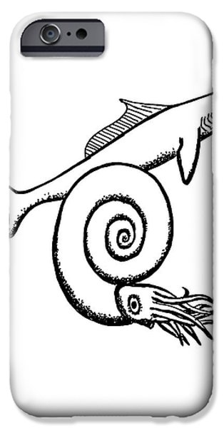 Devonian Shark And Ammonoid IPhone 6s Case by Richard Bizley