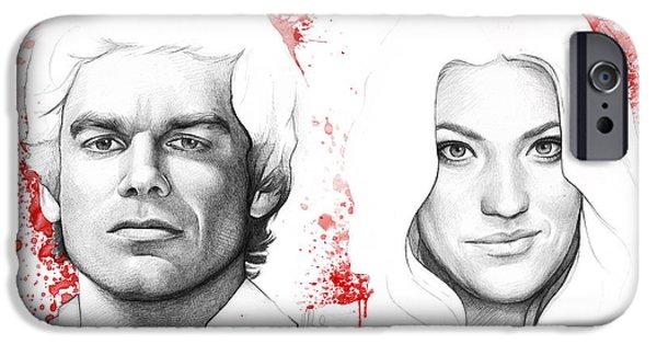 Pencil iPhone 6s Case - Dexter And Debra Morgan by Olga Shvartsur