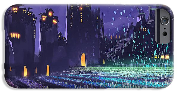 Castle iPhone 6s Case - Digital Painting Showing A Field Of by Tithi Luadthong
