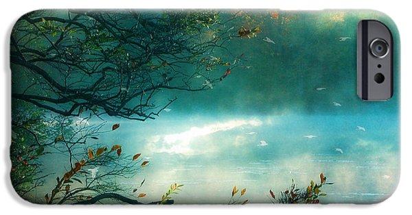 Teal iPhone 6s Case - Dreamy Nature Aqua Teal Fog Pond Landscape - Aqua Turquoise Fall Autumn Nature Decor  by Kathy Fornal