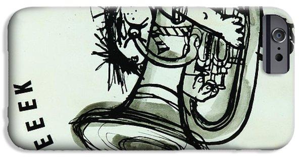 Trombone iPhone 6s Case - Eeeeeeek! Ink On Paper by Brenda Brin Booker