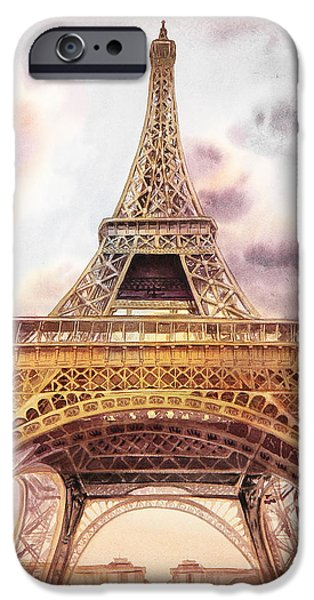 IPhone 6s Case featuring the painting Eiffel Tower Vintage Art by Irina Sztukowski