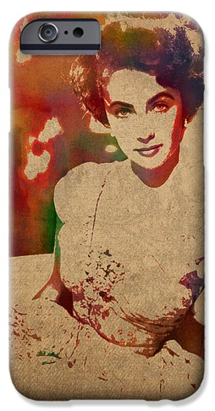 Elizabeth Taylor Watercolor Portrait On Worn Distressed Canvas IPhone 6s Case by Design Turnpike
