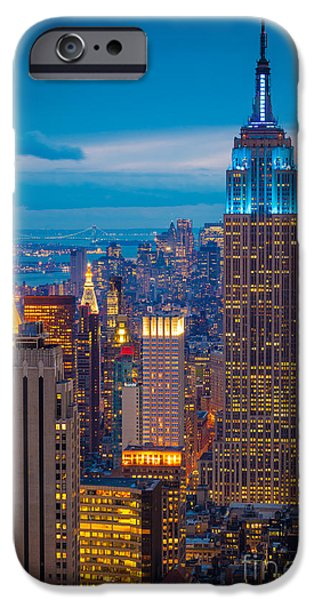 City Scenes iPhone 6s Case - Empire State Blue Night by Inge Johnsson