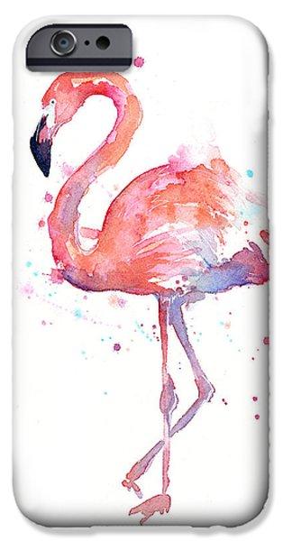 Animal iPhone 6s Case - Flamingo Watercolor by Olga Shvartsur