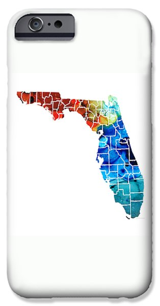 Florida - Map By Counties Sharon Cummings Art IPhone 6s Case by Sharon Cummings