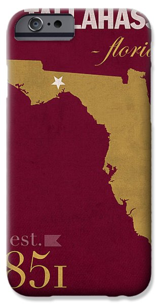 Florida State University Seminoles Tallahassee Florida Town State Map Poster Series No 039 IPhone 6s Case by Design Turnpike