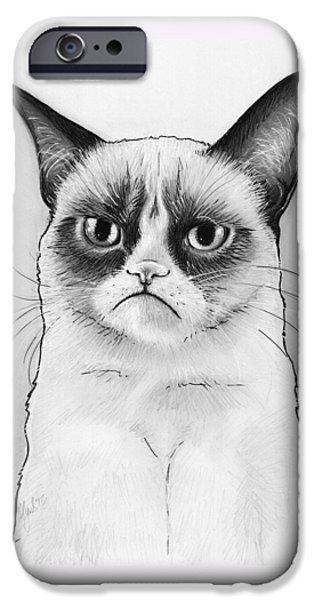 Cat iPhone 6s Case - Grumpy Cat Portrait by Olga Shvartsur