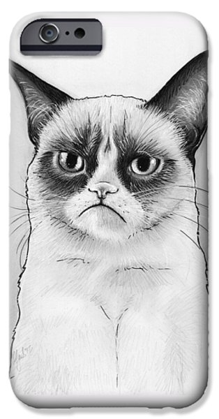 Cat iPhone 6s Case - Grumpy Cat Portrait by Olga Shvartsur
