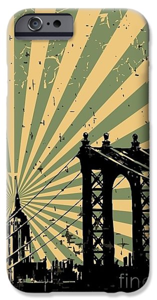 Office Buildings iPhone 6s Case - Grunge Image Of New York, Poster, Vector by Pgmart