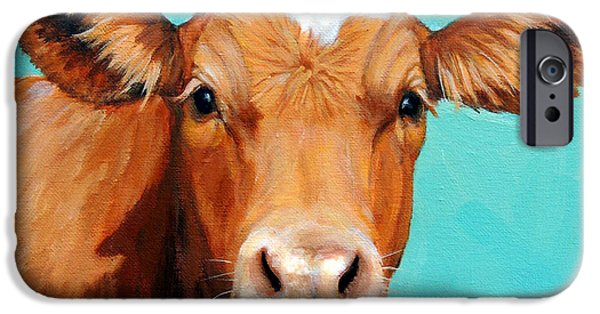 Cow iPhone 6s Case - Guernsey Cow On Light Teal No Horns by Dottie Dracos