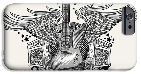 Space iPhone 6s Case - Guitar Emblem by Alex bond