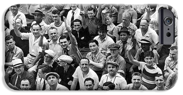 Happy Baseball Fans In The Bleachers At Yankee Stadium. IPhone 6s Case by Underwood Archives