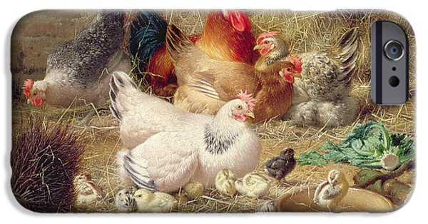 Hens Roosting With Their Chickens IPhone 6s Case by Eugene Remy Maes