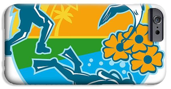 Scuba Diving iPhone 6s Case - Hiker Scuba Diver Island Tropicbird Flowers Retro by Aloysius Patrimonio
