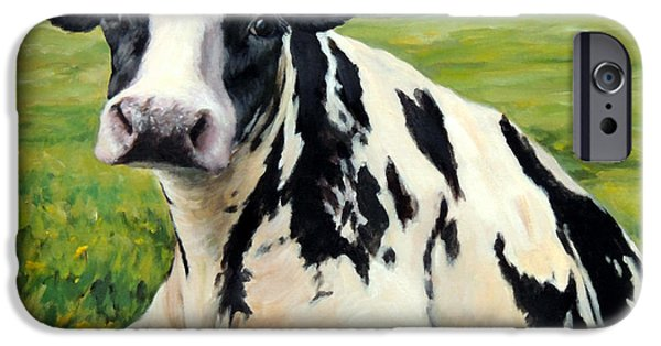 Cow iPhone 6s Case - Holstein Cow Relaxing In Field by Dottie Dracos