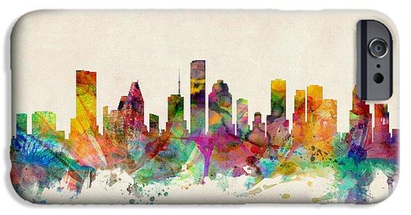 Universities iPhone 6s Case - Houston Texas Skyline by Michael Tompsett