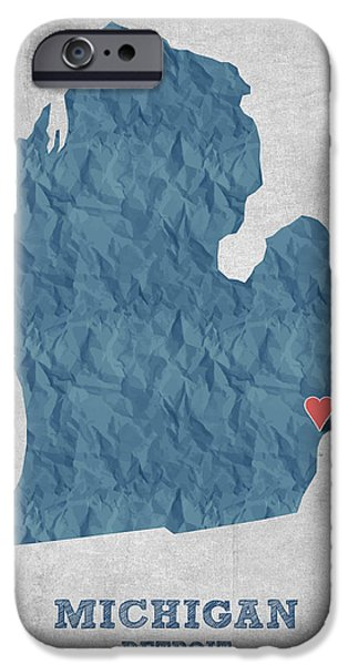 I Love Detroit Michigan - Blue IPhone 6s Case by Aged Pixel