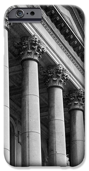 Capitol Building iPhone 6s Case - Illinois Capitol Columns B W by Steve Gadomski