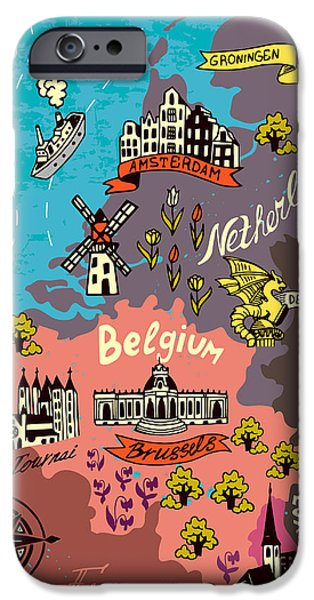 Castle iPhone 6s Case - Illustrated Map Of The Netherlands by Daria i