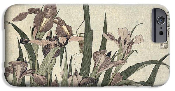 Grasshopper iPhone 6s Case - Irises And Grasshopper by Katsushika Hokusai