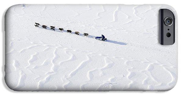 John Bakers Team Running Down Frozen Yukon River  IPhone 6s Case by Jeff Schultz