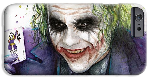 Heath Ledger iPhone 6s Case - Joker Watercolor Portrait by Olga Shvartsur