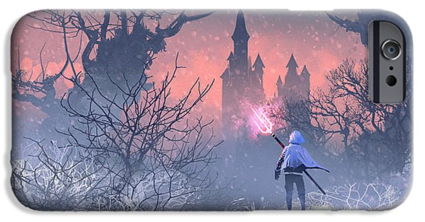 Castle iPhone 6s Case - Knight With Trident In Winter by Tithi Luadthong