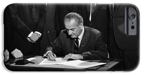 Washington D.c iPhone 6s Case - Lbj Signs Civil Rights Bill by Underwood Archives Warren Leffler