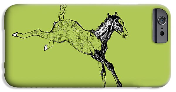 Horse iPhone 6s Case - Leaping Foal Greens by JAMART Photography