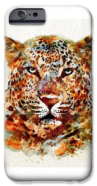 Leopard iPhone 6s Case - Leopard Head Watercolor by Marian Voicu